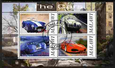 Malawi 2010 Cars #06 - Ford, Jaguar, Morgan & Ferrari perf sheetlet containing 4 values fine cto used