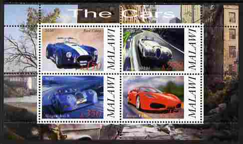 Malawi 2010 Cars #06 - Ford, Jaguar, Morgan & Ferrari perf sheetlet containing 4 values unmounted mint