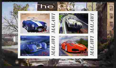 Malawi 2010 Cars #06 - Ford, Jaguar, Morgan & Ferrari imperf sheetlet containing 4 values unmounted mint