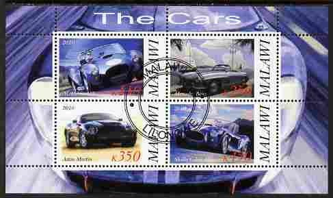 Malawi 2010 Cars #07 - Cobra, Mercedes, Shelby & Aston Martin perf sheetlet containing 4 values fine cto used