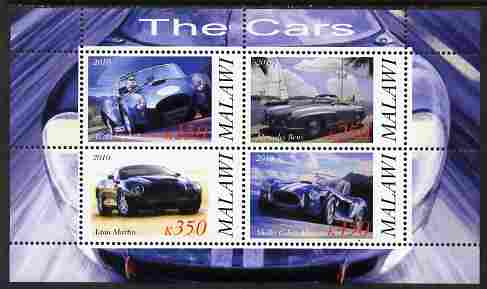 Malawi 2010 Cars #07 - Cobra, Mercedes, Shelby & Aston Martin perf sheetlet containing 4 values unmounted mint