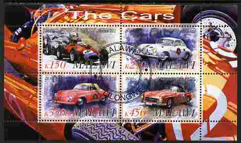 Malawi 2010 Cars #08 - Ferrari, Porsche & Mercedes Benz perf sheetlet containing 4 values fine cto used