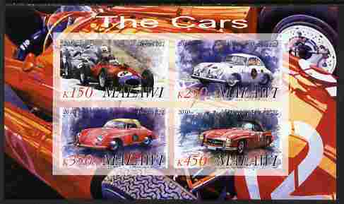 Malawi 2010 Cars #08 - Ferrari, Porsche & Mercedes Benz imperf sheetlet containing 4 values unmounted mint