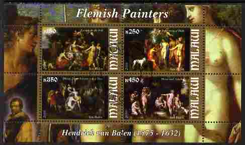 Malawi 2010 Art - Flemish Painters - Balen perf sheetlet containing 4 values fine cto used