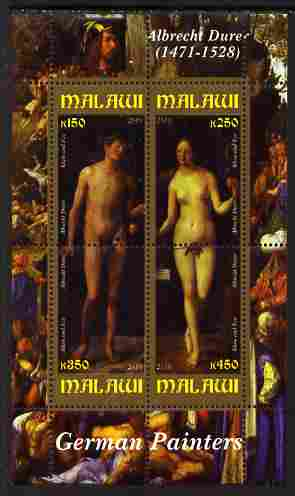Malawi 2010 Art - German Painters - Durer perf sheetlet containing 4 values unmounted mint