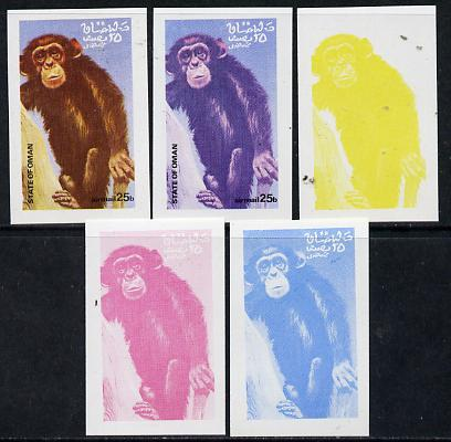 Oman 1974 Zoo Animals 25b (Chimp) set of 5 imperf progressive colour proofs comprising 3 individual colours (red, blue & yellow) plus 3 and all 4-colour composites unmounted mint