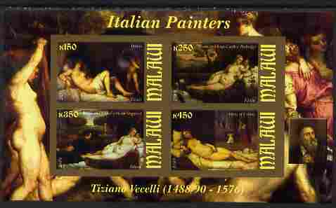 Malawi 2010 Art - Italian Painters - Tiziano Vecelli imperf sheetlet containing 4 values unmounted mint