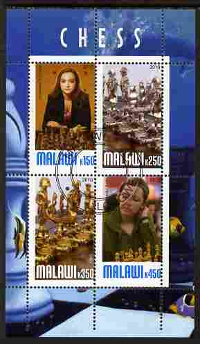 Malawi 2010 Chess - Modern Masters #01 perf sheetlet containing 4 values fine cto used