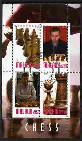 Malawi 2010 Chess - Modern Masters #02 perf sheetlet containing 4 values fine cto used