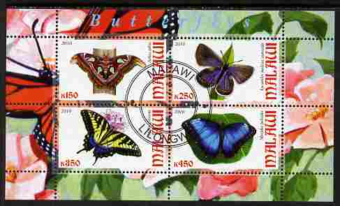 Malawi 2010 Butterflies perf sheetlet containing 4 values fine cto used