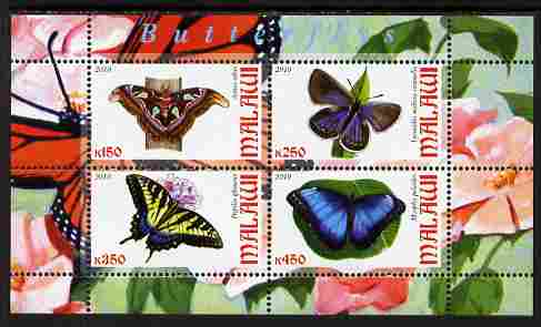 Malawi 2010 Butterflies perf sheetlet containing 4 values unmounted mint