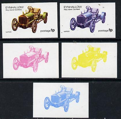 Eynhallow 1974 Vintage Cars #1 1p (Napier) set of 5 imperf progressive colour proofs comprising 3 individual colours (red, blue & yellow) plus 3 and all 4-colour composites unmounted mint