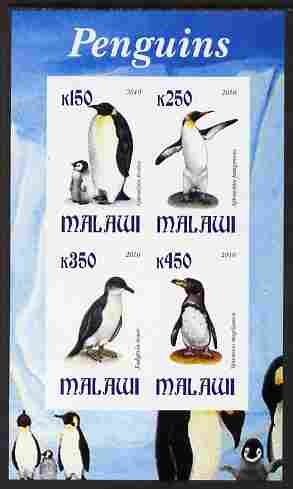 Malawi 2010 Penguins imperf sheetlet containing 4 values unmounted mint