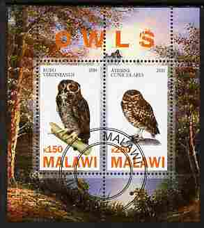 Malawi 2010 Owls perf sheetlet containing 2 values fine cto used