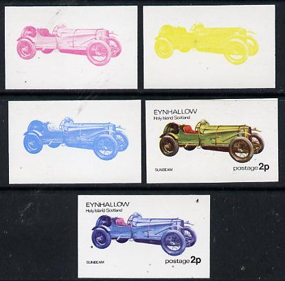 Eynhallow 1974 Vintage Cars #1 2p (Sunbeam) set of 5 imperf progressive colour proofs comprising 3 individual colours (red, blue & yellow) plus 3 and all 4-colour composites unmounted mint