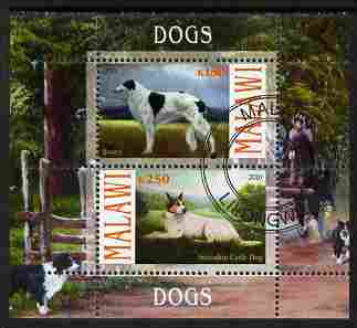 Malawi 2010 Dogs #01 perf sheetlet containing 2 values fine cto used