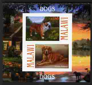 Malawi 2010 Dogs #02 imperf sheetlet containing 2 values unmounted mint