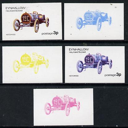 Eynhallow 1974 Vintage Cars #1 3p (Hotchkiss) set of 5 imperf progressive colour proofs comprising 3 individual colours (red, blue & yellow) plus 3 and all 4-colour composites unmounted mint