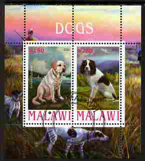 Malawi 2010 Dogs #04 perf sheetlet containing 2 values fine cto used