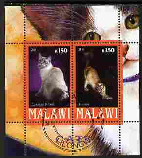 Malawi 2010 Domestic Cats #01 perf sheetlet containing 2 values fine cto used