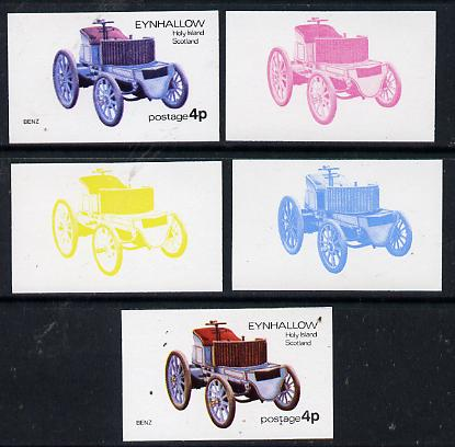Eynhallow 1974 Vintage Cars #1 4p (Benz) set of 5 imperf progressive colour proofs comprising 3 individual colours (red, blue & yellow) plus 3 and all 4-colour composites unmounted mint