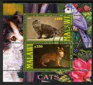 Malawi 2010 Domestic Cats #03 perf sheetlet containing 2 values fine cto used, stamps on cats