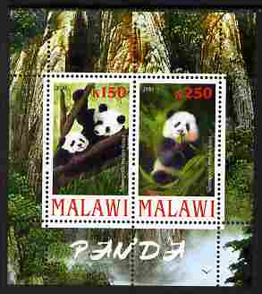Malawi 2010 Pandas perf sheetlet containing 2 values unmounted mint