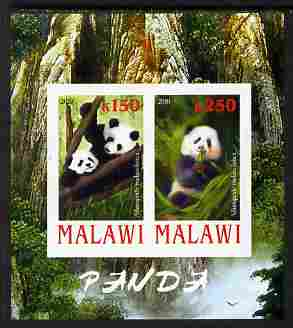 Malawi 2010 Pandas imperf sheetlet containing 2 values unmounted mint