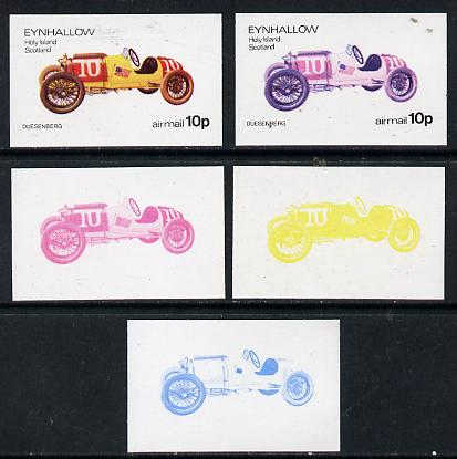 Eynhallow 1974 Vintage Cars #1 10p (Duesenberg) set of 5 imperf progressive colour proofs comprising 3 individual colours (red, blue & yellow) plus 3 and all 4-colour composites unmounted mint