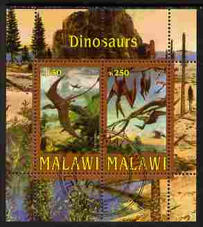 Malawi 2010 Dinosaurs perf sheetlet containing 2 values fine cto used
