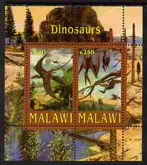 Malawi 2010 Dinosaurs perf sheetlet containing 2 values unmounted mint