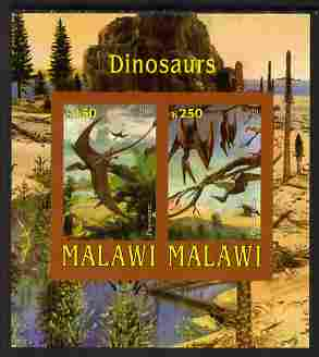 Malawi 2010 Dinosaurs imperf sheetlet containing 2 values unmounted mint, stamps on dinosaurs