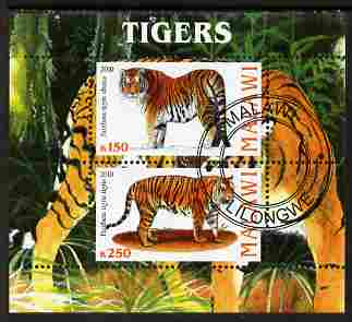 Malawi 2010 Tigers perf sheetlet containing 2 values fine cto used