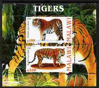 Malawi 2010 Tigers perf sheetlet containing 2 values unmounted mint