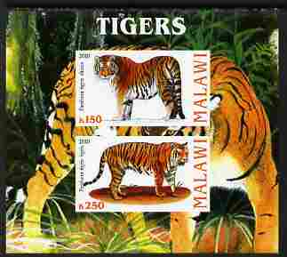 Malawi 2010 Tigers imperf sheetlet containing 2 values unmounted mint