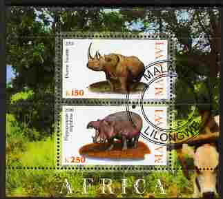 Malawi 2010 African Animals - Rhino & Hippo perf sheetlet containing 2 values fine cto used