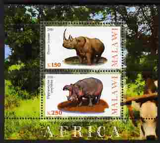 Malawi 2010 African Animals - Rhino & Hippo perf sheetlet containing 2 values unmounted mint