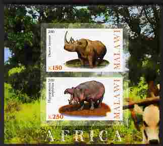 Malawi 2010 African Animals - Rhino & Hippo imperf sheetlet containing 2 values unmounted mint