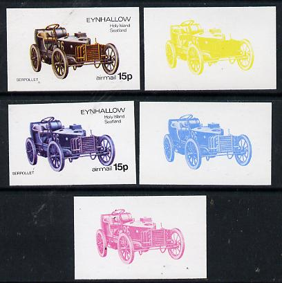Eynhallow 1974 Vintage Cars #1 15p (Serpollet) set of 5 imperf progressive colour proofs comprising 3 individual colours (red, blue & yellow) plus 3 and all 4-colour composites unmounted mint