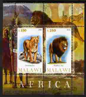 Malawi 2010 African Animals - Lion & Panther perf sheetlet containing 2 values unmounted mint
