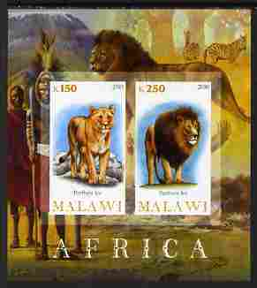 Malawi 2010 African Animals - Lion & Panther imperf sheetlet containing 2 values unmounted mint