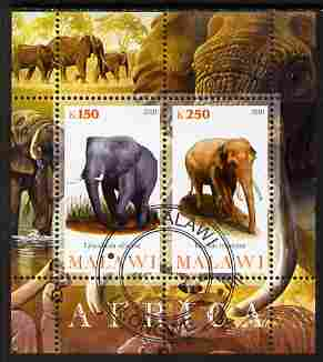 Malawi 2010 African Animals - Elephants perf sheetlet containing 2 values fine cto used