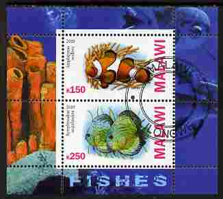 Malawi 2010 Fish perf sheetlet containing 2 values fine cto used