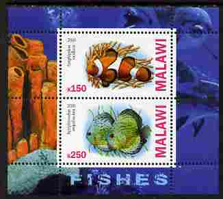 Malawi 2010 Fish perf sheetlet containing 2 values unmounted mint