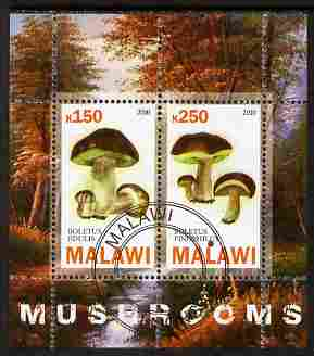 Malawi 2010 Mushrooms perf sheetlet containing 2 values fine cto used