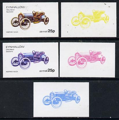Eynhallow 1974 Vintage Cars #1 25p (Hispano-Suiza) set of 5 imperf progressive colour proofs comprising 3 individual colours (red, blue & yellow) plus 3 and all 4-colour composites unmounted mint