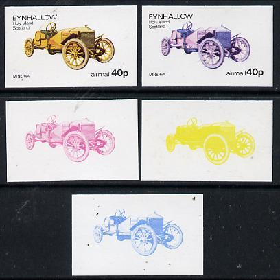 Eynhallow 1974 Vintage Cars #1 40p (Minerva) set of 5 imperf progressive colour proofs comprising 3 individual colours (red, blue & yellow) plus 3 and all 4-colour composites unmounted mint