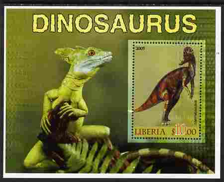 Liberia 2005 Dinosaurs #6 perf souvenir sheet unmounted mint, stamps on dinosaurs
