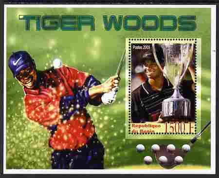 Benin 2005 Tiger Woods perf m/sheet unmounted mint. Note this item is privately produced and is offered purely on its thematic appeal, stamps on golf