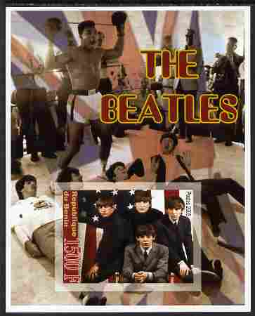 Benin 2005 The Beatles imperf souvenir sheet unmounted mint. Note this item is privately produced and is offered purely on its thematic appeal (Mohamed Ali in background)